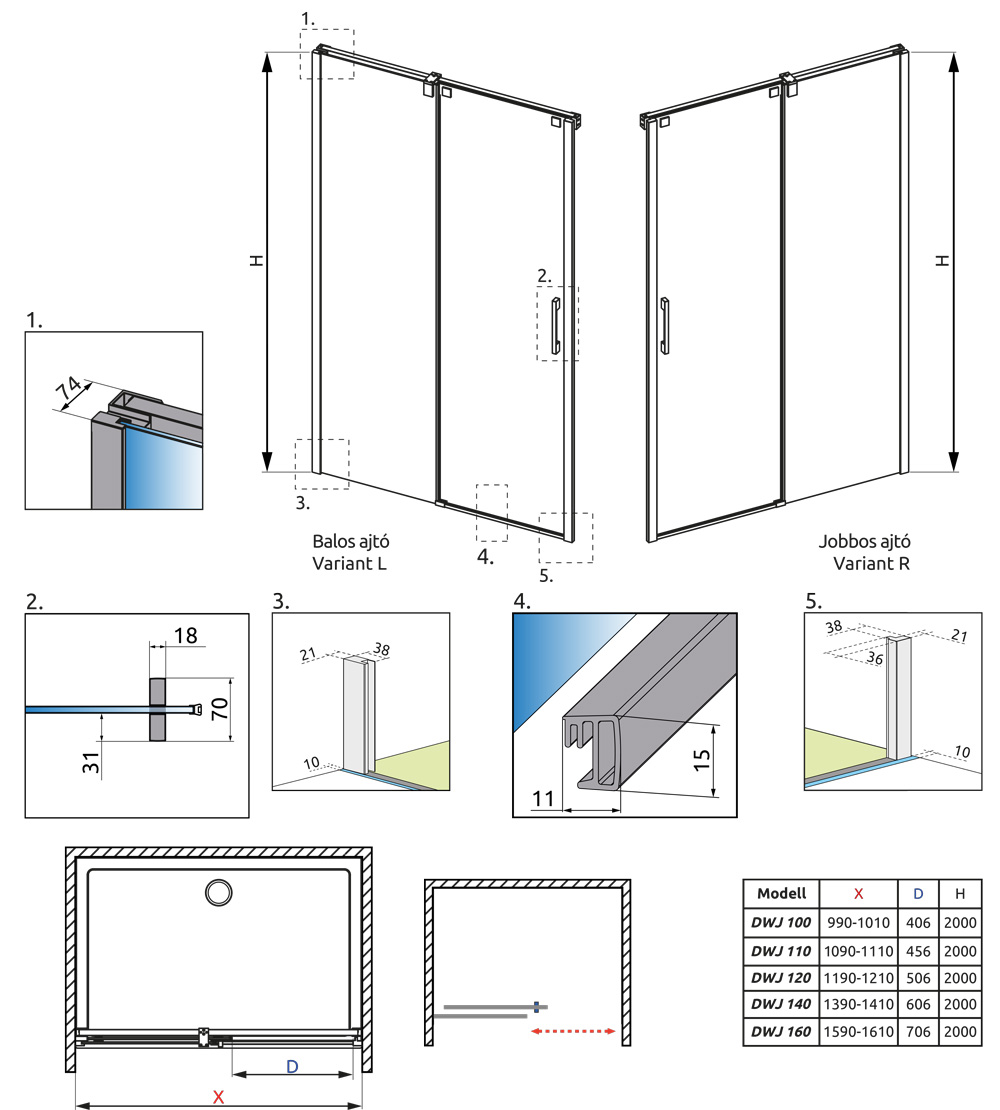 Espera DWJ műszaki rajz