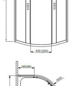 AFRODYTA zuhanykabin műszaki rajz