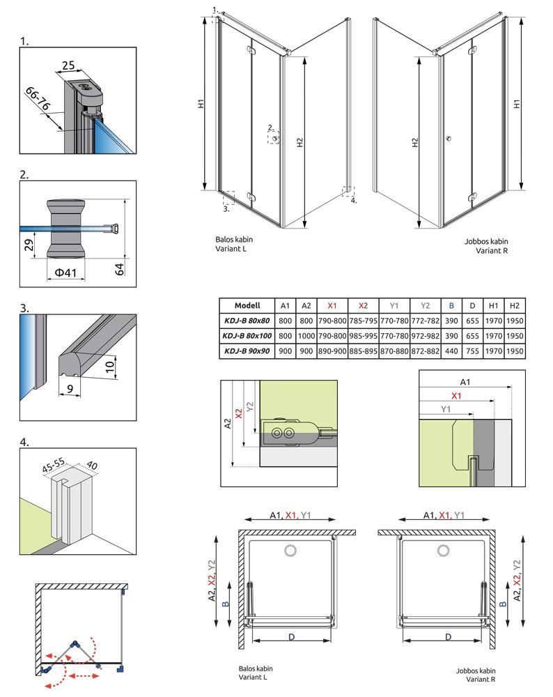 Radaway EOS KDJ-B 80Jx100 zuhanykabin átlátszó