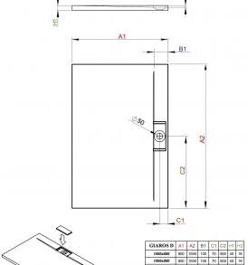 Giaros D szögletes zuhanytálca műszaki rajz