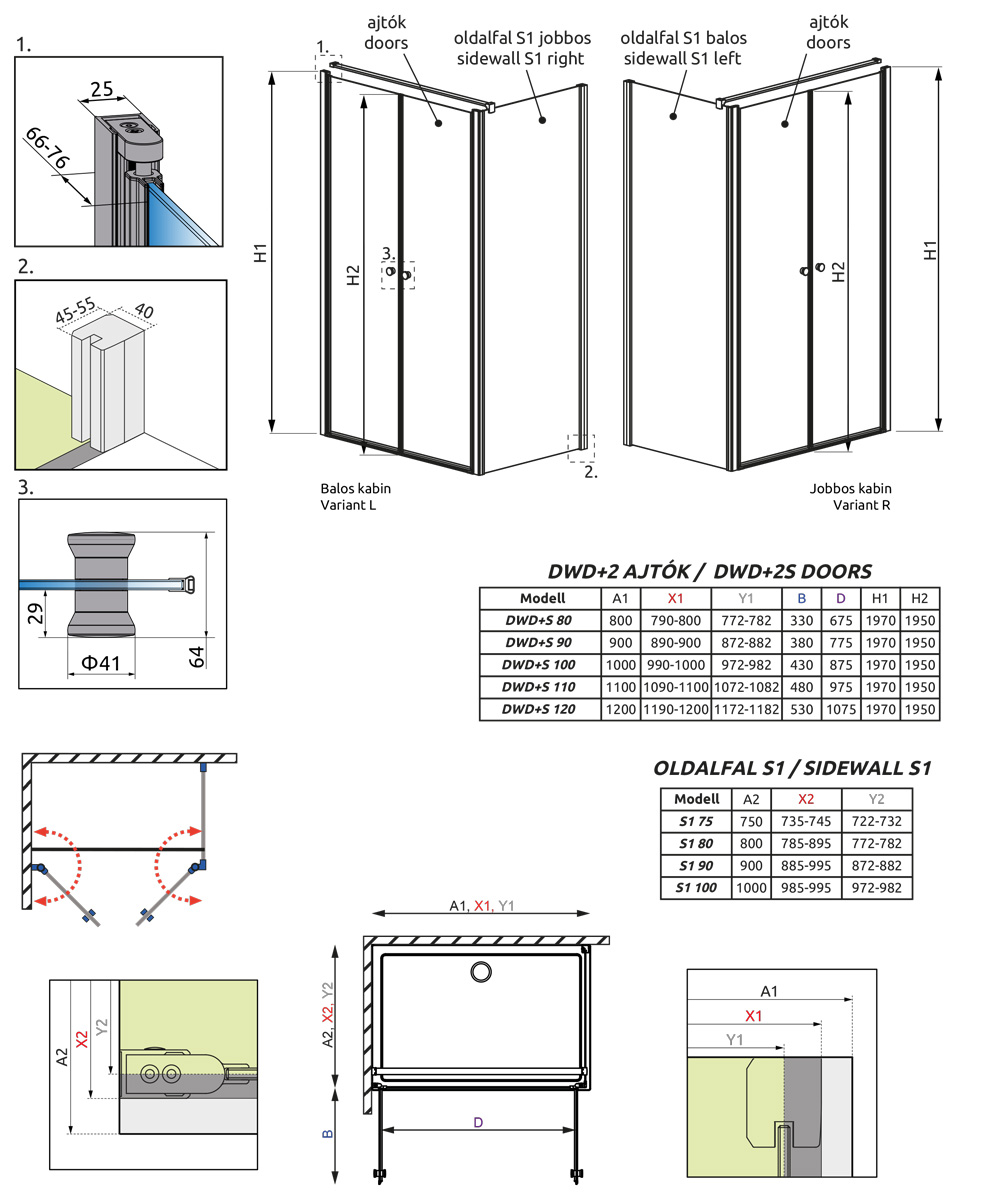 EOS II DWD+S zuhanykabin technikai rajz