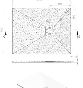 Kios F zuhanytálca műszaki rajz