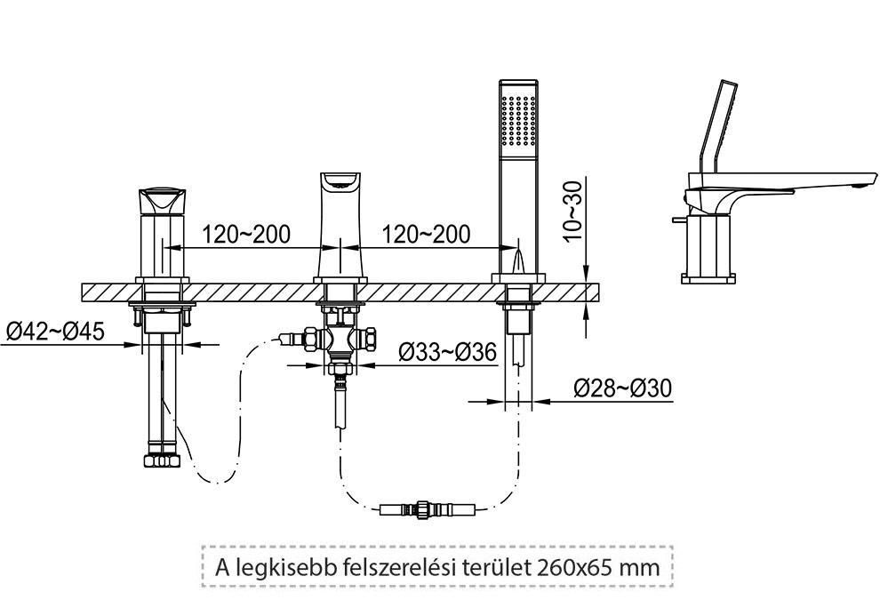 Loft csaptelep műszaki rajz