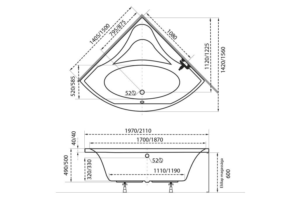 Aura akril sarokkád műszaki rajz